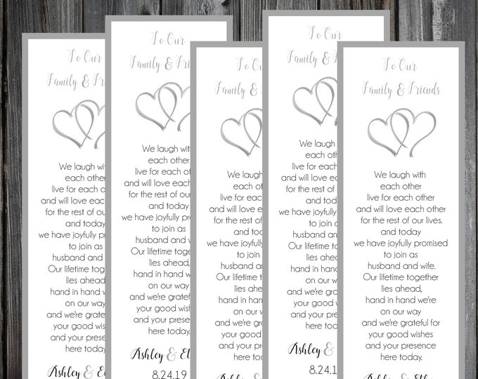 50 Wedding Bookmarks - Double Hearts - Printed - Personalized - Wedding Favors