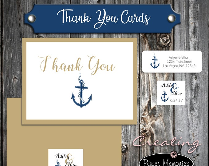 100 Wedding Thank You Cards - Nautical Anchor Beach - Printed - Personalized - Flat Card