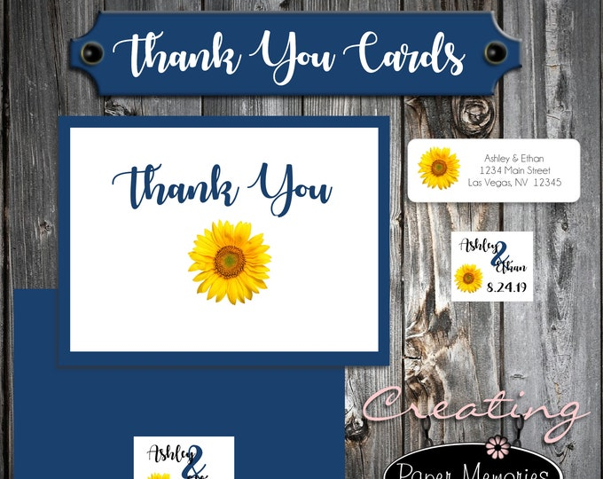 75 Wedding Thank You Cards - Sunflower - Printed - Personalized - Sunflowers Flat Card
