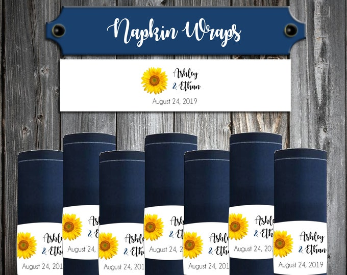 150 Wedding Napkin Wraps Cuffs Sunflower - Printed - Personalized For Your Napkins - Sunflowers