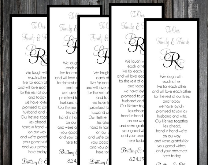 50 Wedding Bookmarks - Monogram - Printed - Personalized - Monogrammed Wedding Favors