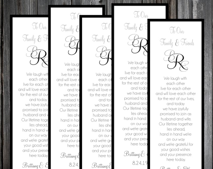 100 Wedding Bookmarks - Monogram - Printed - Personalized - Monogrammed Wedding Favors