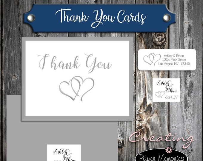 50 Wedding Thank You Cards - Double Hearts - Printed - Personalized - Flat Card