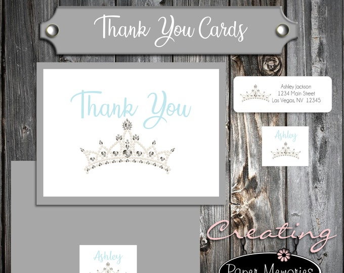 25 Birthday Thank You Cards - Tiara Princess Crown Cinderella Quinceanera - Printed - Personalized - Flat Card