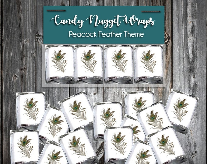 100 Candy Chocolate Wraps - Peacock Feather - Personalized Wrappers - Printed - Wedding Favors