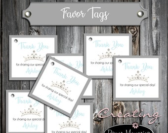 25 Birthday Favor Tags - Tiara Princess Crown Cinderella Quinceanera - Printed - Personalized - Birthday Favors