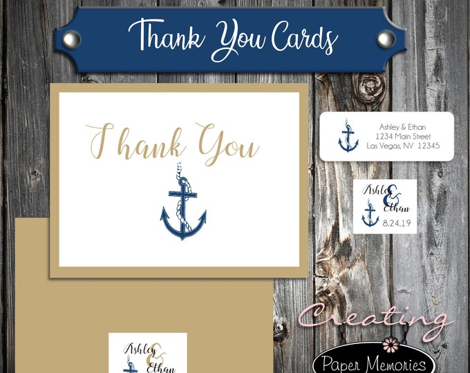 50 Wedding Thank You Cards - Nautical Anchor Beach - Printed - Personalized - Flat Card