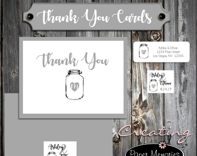 50 Wedding Thank You Cards - Mason Jar - Printed - Personalized Rustic Thank You Notes - Flat Card
