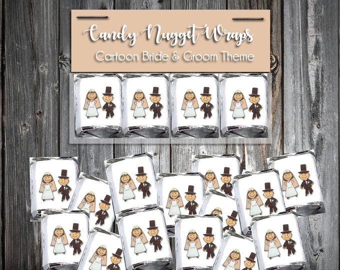 100 Candy Chocolate Wraps - Bride and Groom Cartoon - Personalized Wrappers - Printed - Wedding Favors