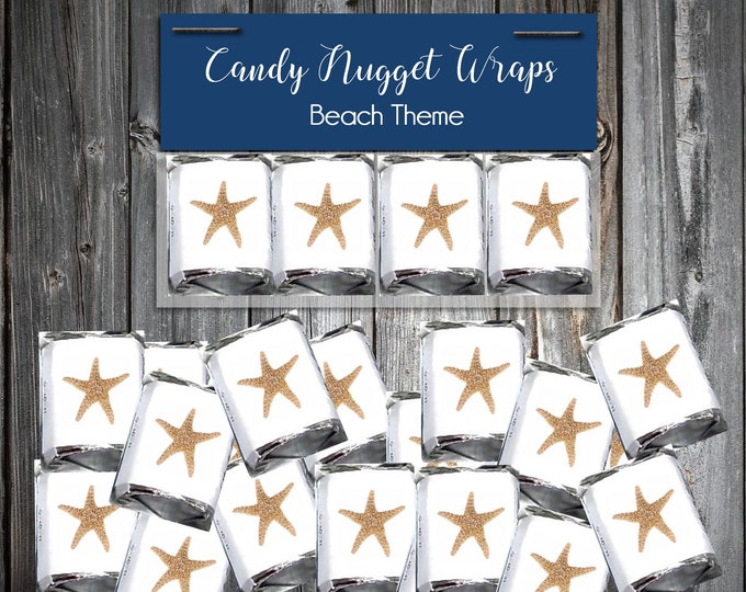 100 Candy Chocolate Wraps - Beach Starfish - Personalized Wrappers - Printed - Wedding Favors