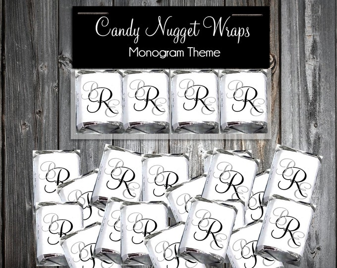 100 Candy Chocolate Wraps - Monogram - Personalized Wrappers - Printed - Mongrammed Wedding Favors