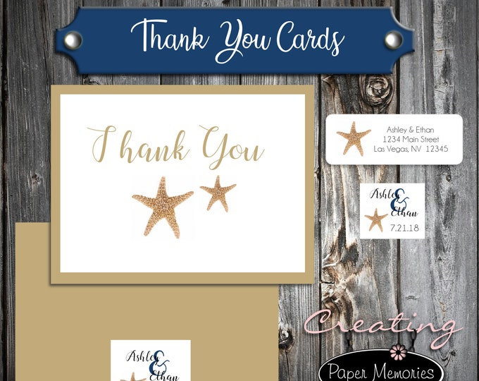50 Wedding Thank You Cards - Beach Starfish - Printed - Personalized - Flat Card