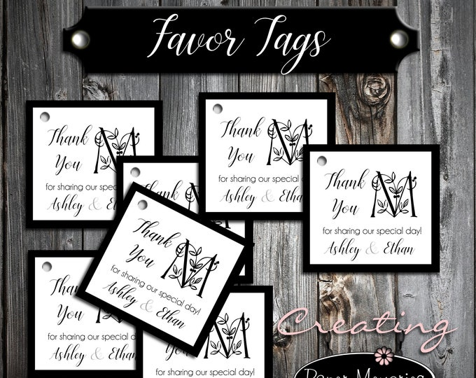 100 Monogram Favor Tags - Printed - Personalized - Monogrammed Floral Letter Wedding favors