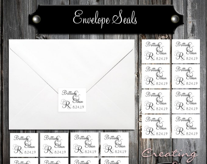 100 Wedding Envelope Seals - Monogram - Printed - Personalized Monogrammed Sticker Labels