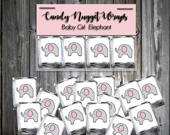 60 Pink and Grey Elephant Shower Candy Chocolate Wraps Favors. Includes printing.