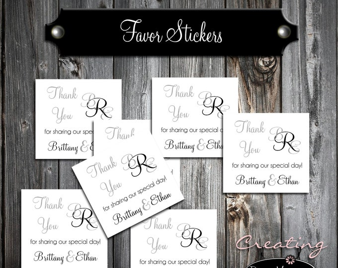 100 Wedding Favor Stickers - Monogram - Printed - Personalized Monogrammed Square labels are 2 inches by 2 inches.