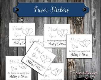 100 Wedding Favor Stickers - Double Hearts - Printed - Personalized - Square 2x2 Thank You Favors
