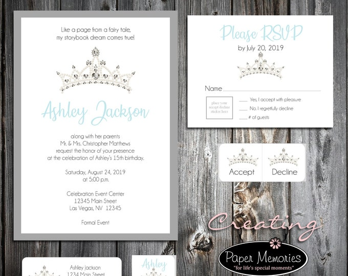 50 Birthday Invitations - Tiara Crown Princess Cinderella Quinceanera - RSVP - Printed -Personalized - Return Address Labels - Stickers