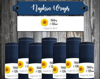 100 Wedding Napkin Wraps Cuffs Sunflower - Printed - Personalized For Your Napkins - Sunflowers