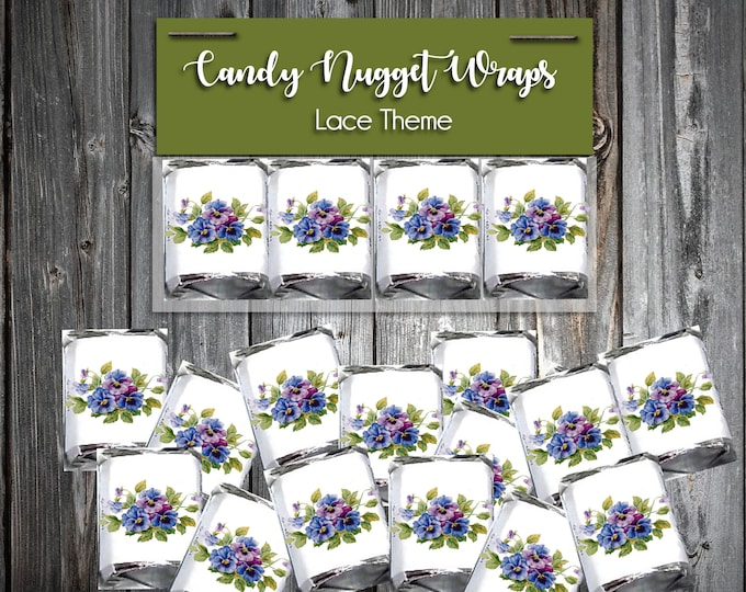 100 Candy Chocolate Wraps - Pansies - Personalized Wrappers - Printed - Flowers Wedding Favors