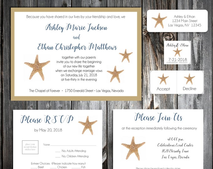 50 Wedding Invitations - Beach Starfish - Printed - Personalized - RSVP - Inserts - Stickers
