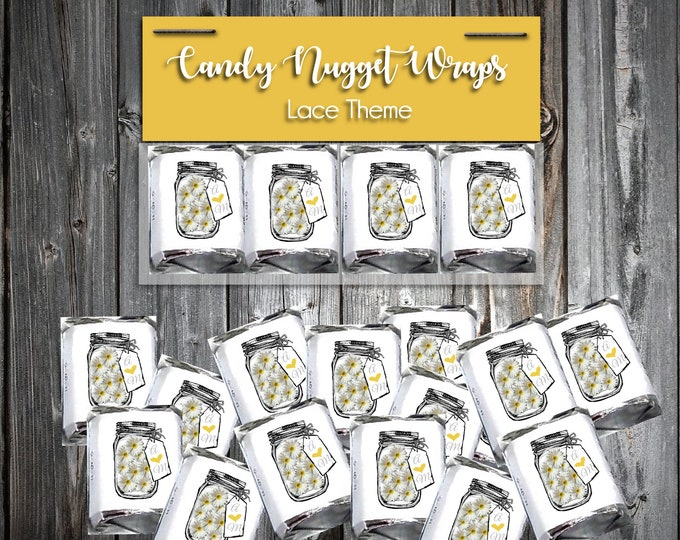 100 Candy Chocolate Wraps - Mason Jar with Daisies - Personalized Wrappers - Printed - Wedding Favors