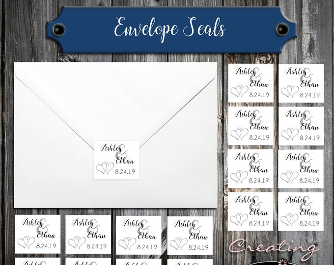 100 Wedding Envelope Seals - Double Hearts - Printed - Personalized Sticker Labels