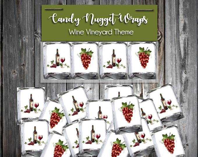 100 Candy Chocolate Wraps - Red Wine Vineyard Grapes - Personalized Wrappers - Printed - Wedding Favors
