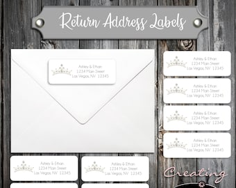 100 Birthday Return Address Labels - Tiara Princess Crown Cinderella Quinceanera- Printed - Personalized self stick label