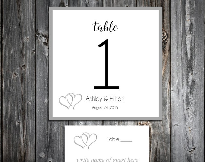 10 Wedding Table Numbers - 100 place settings - Double Hearts - Printed - Personalized