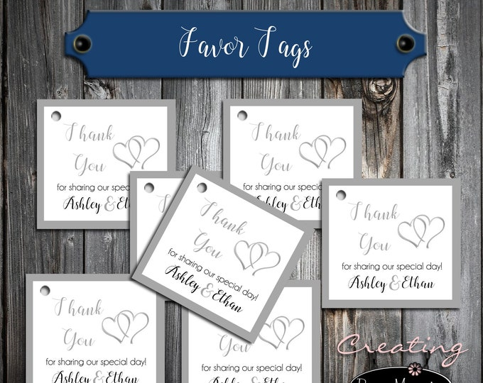 50 Wedding Favor Tags - Double Hearts - Printed - Personalized - Wedding Favors