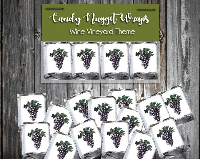 100 Candy Chocolate Wraps - Wine Vineyard Grapes - Personalized Wrappers - Printed - Wedding Favors