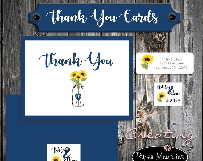 50 Wedding Thank You Cards - Mason Jar with Sunflowers - Printed - Personalized - Flat Card