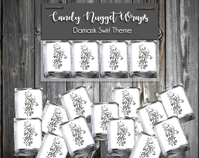 100 Candy Chocolate Wraps - Damask Swirl - Personalized Wrappers - Printed - Wedding Favors