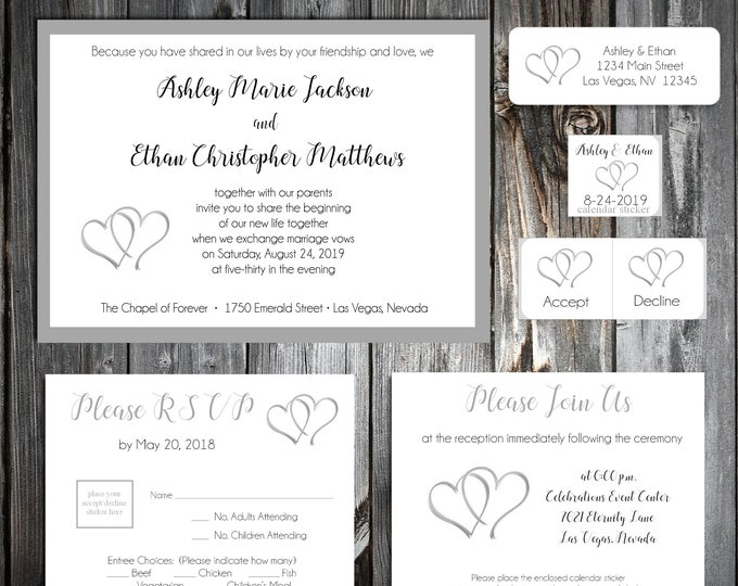 50 Wedding Invitations - Double Hearts - Printed - Personalized - RSVP - Inserts - Stickers