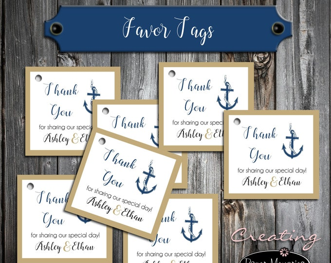 100 Wedding Favor Tags - Nautical Anchor Beach - Printed - Personalized - Wedding Favors