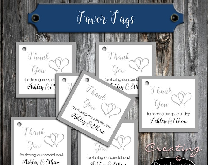 100 Wedding Favor Tags - Double Hearts - Printed - Personalized - Wedding Favors