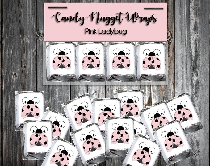 60 Pink Ladybug Shower Candy Chocolate  Wraps - Baby Shower Favors - Includes printing.