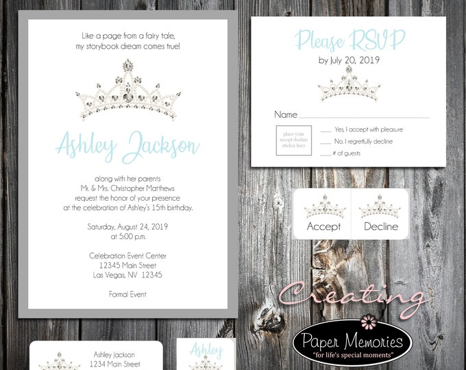 25 Birthday Invitations - Tiara Crown Princess Cinderella Quinceanera - RSVP - Printed -Personalized - Return Address Labels - Stickers