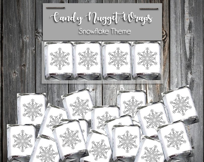 50 Candy Chocolate Wraps - Snowflake - Personalized Wrappers - Printed - Snowflakes Wedding Favors
