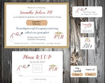 25 Nursing RN Graduation invitations - includes personalization, printing, calendar stickers, envelope seals and return address labels