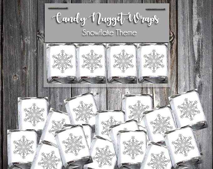 100 Candy Chocolate Wraps - Snowflake - Personalized Wrappers - Printed - Snowflakes Wedding Favors