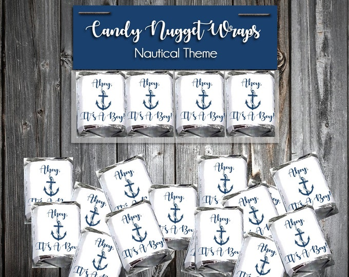 60 Nautical Ahoy It's A Boy Shower Chocolate Candy Wraps Favors. Includes printing.