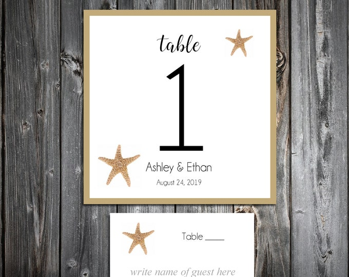 10 Wedding Table Numbers - 100 place settings - Beach Starfish - Printed - Personalized