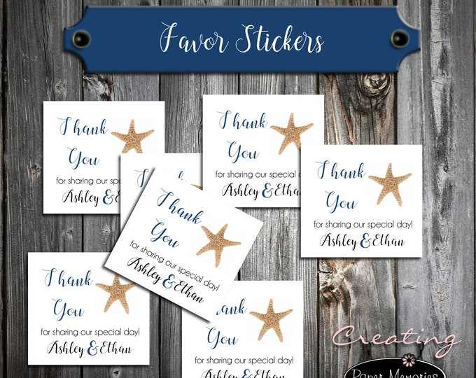 100 Wedding Favor Stickers - Beach Starfish - Printed - Personalized - Square 2x2 Thank You Favors