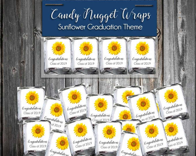100 Sunflower Graduation Candy Wraps Favors - Nugget Chocolate Wrappers