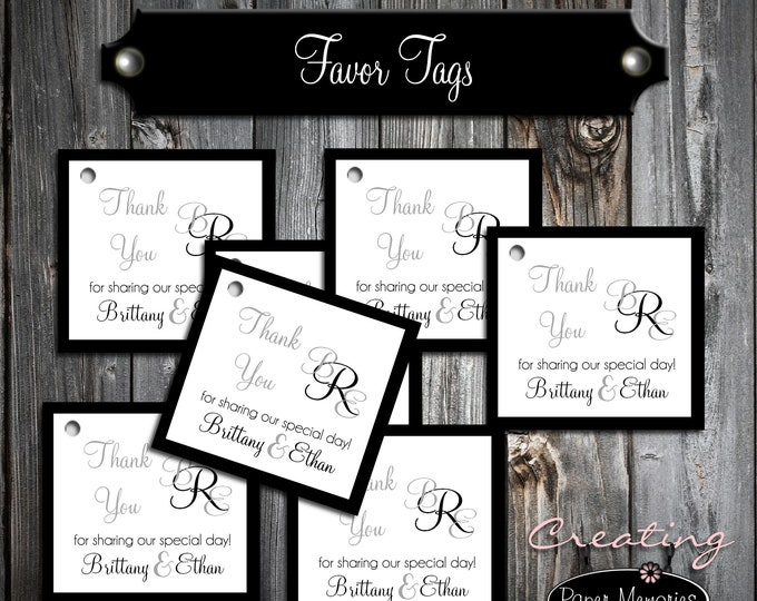 100 Monogram Favor Tags - Printed - Personalized - Monogrammed Wedding favors