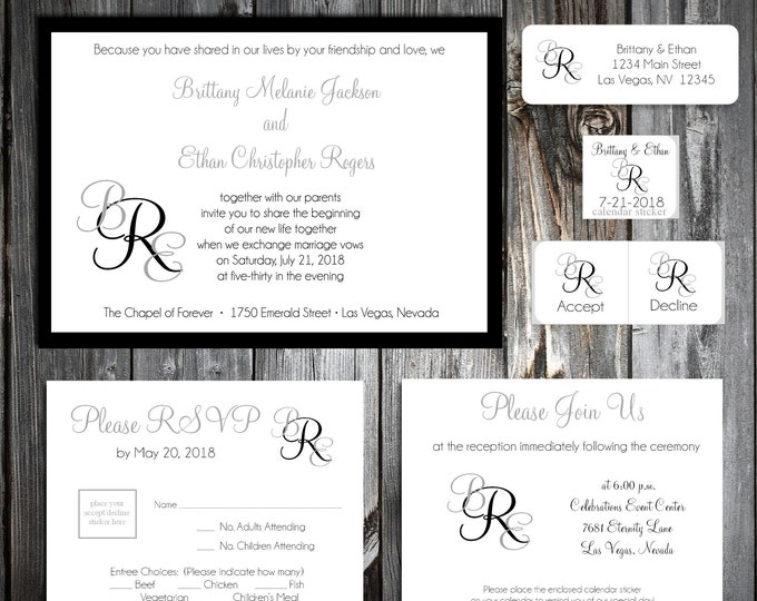 50 Wedding Invitations - Monogram - RSVP - Inserts - Printed -Personalized Monogrammed - Return Address Labels - Stickers