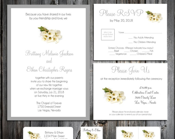 50 Wedding Invitations - Calla Lily - Printed - Personalized Calla Lilies Theme - RSVP - Inserts - Stickers