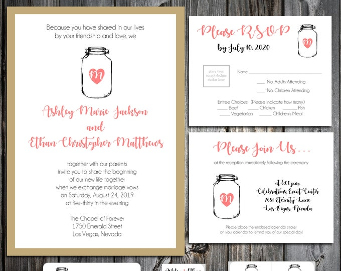 50 Wedding Invitations - Mason Jar - RSVP - Inserts - Printed - Personalized - Return Address Labels - Stickers - Portrait Style